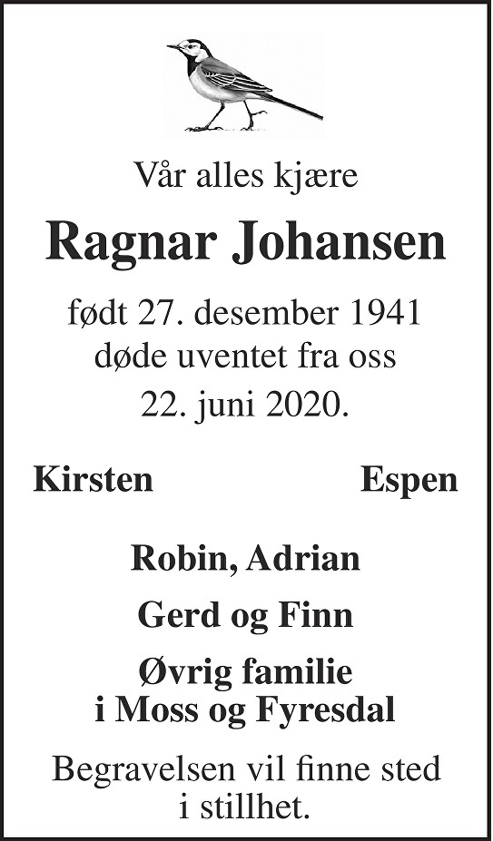 Ragnar Johansen Dødsannonse