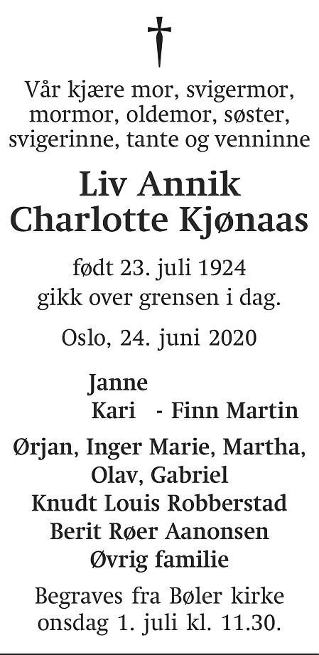 Liv Annik Charlotte Kjønaas Dødsannonse