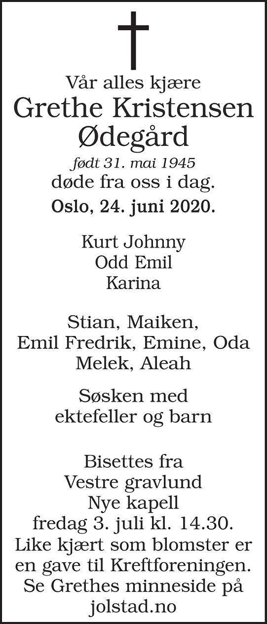 Grethe Kristensen Ødegård Dødsannonse