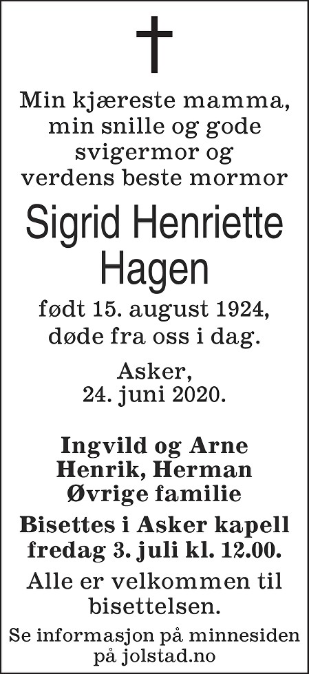 Sigrid Henriette Hagen Dødsannonse