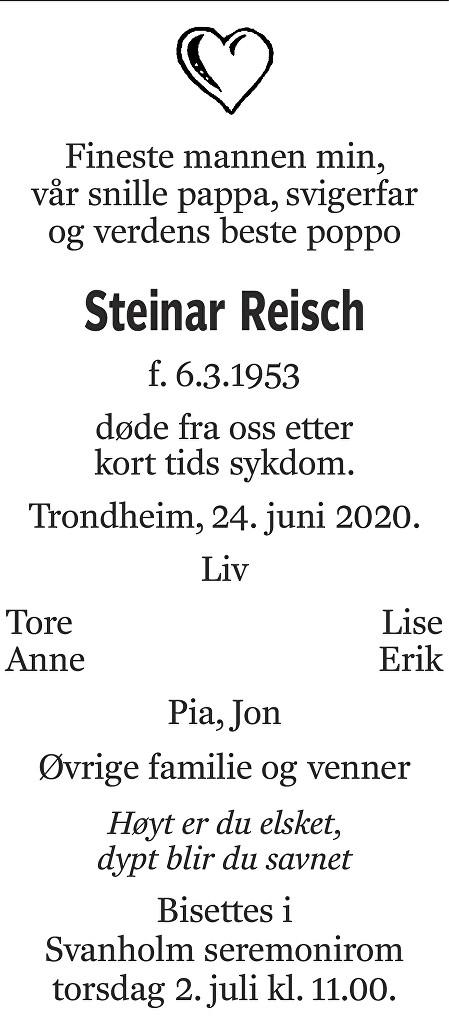 Steinar Reisch Dødsannonse