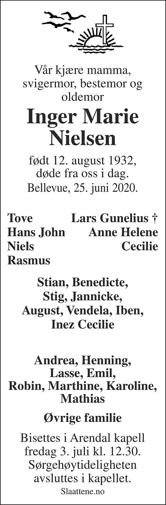 Inger Marie Nielsen Dødsannonse