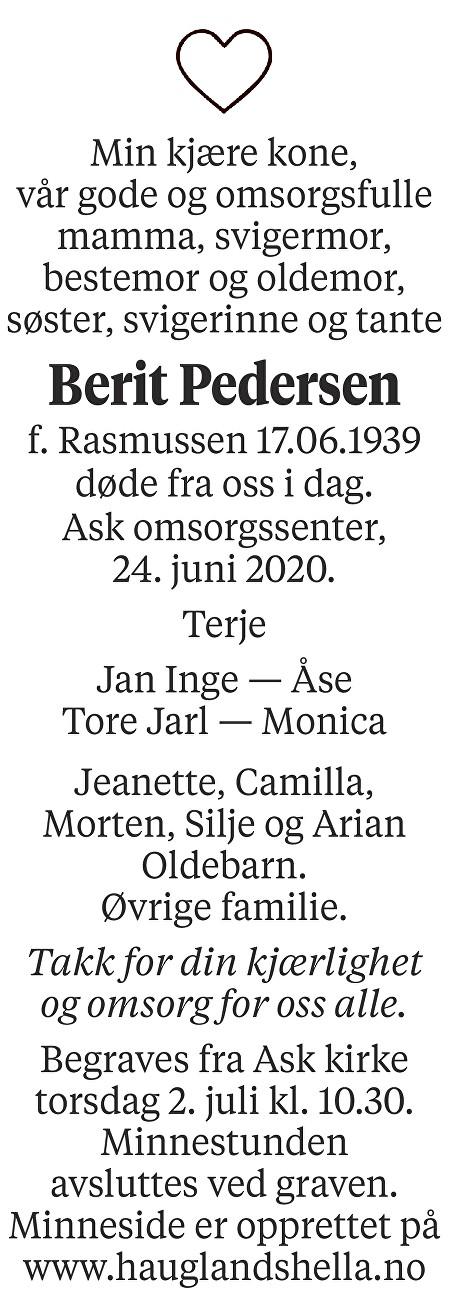 Berit Pedersen Dødsannonse