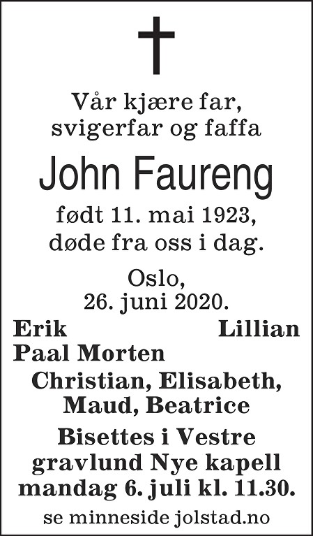 John Faureng Dødsannonse