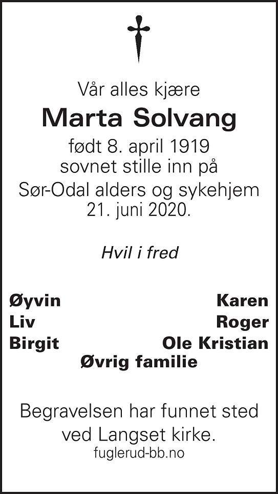 Marta Solvang Dødsannonse