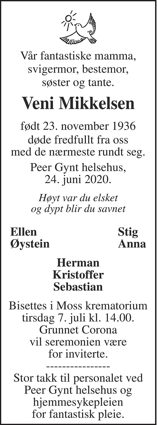 Ingrid Veni Mikkelsen Dødsannonse
