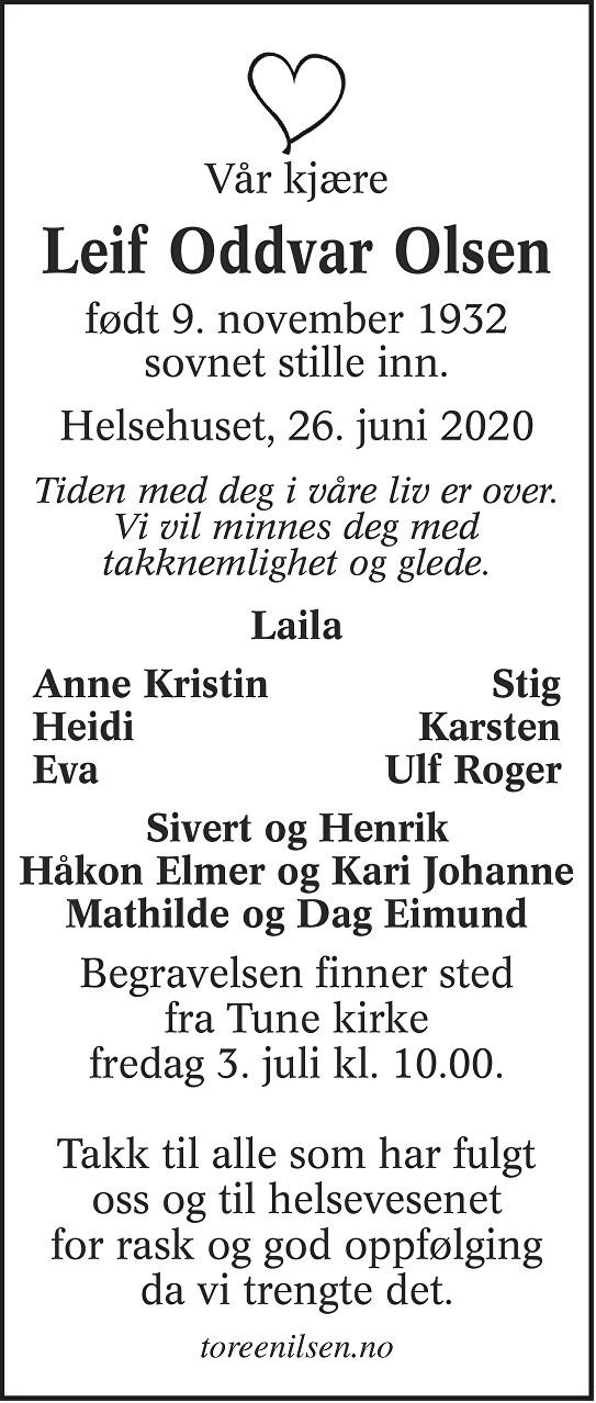 Leif Oddvar Olsen Dødsannonse