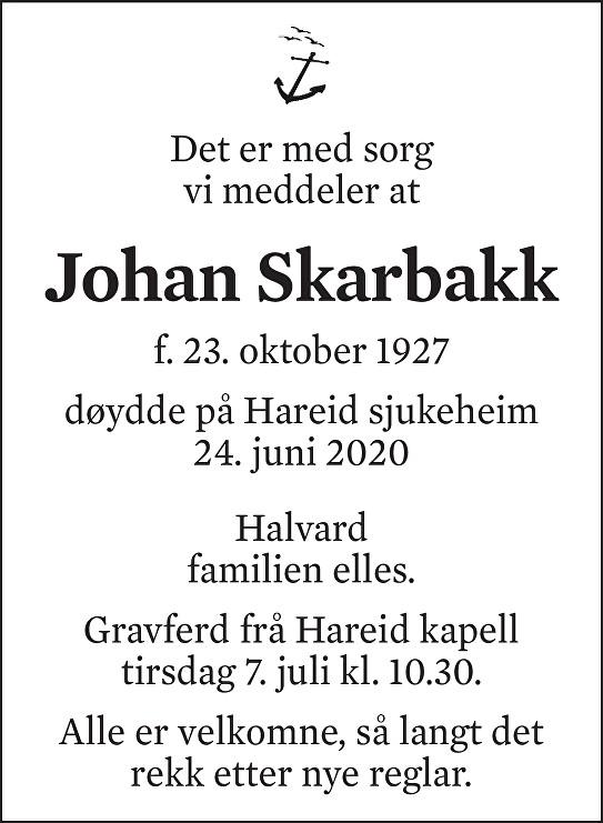 Johan Peder Skarbakk Dødsannonse