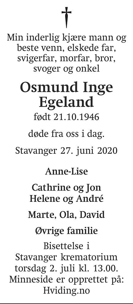 Osmund Inge Egeland Dødsannonse