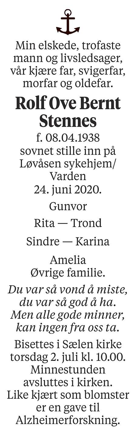 Rolf Ove Bernt Stennes Dødsannonse