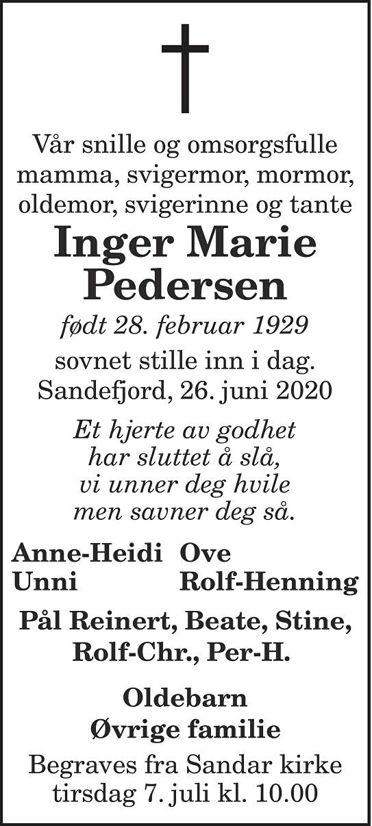 Inger Marie Pedersen Dødsannonse