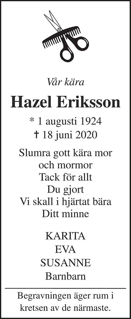 Hazel Eriksson Death notice