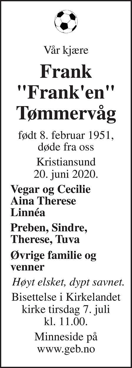 Frank Tømmervåg Dødsannonse