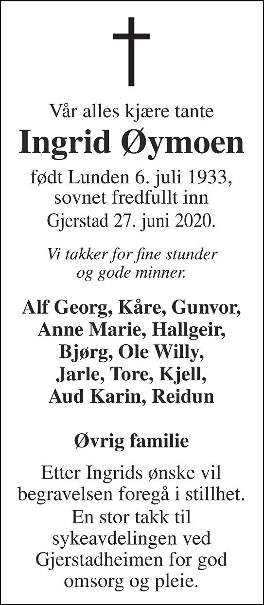 Ingrid Øymoen Dødsannonse