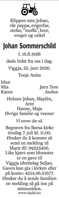 Johan Sommerschild Dødsannonse