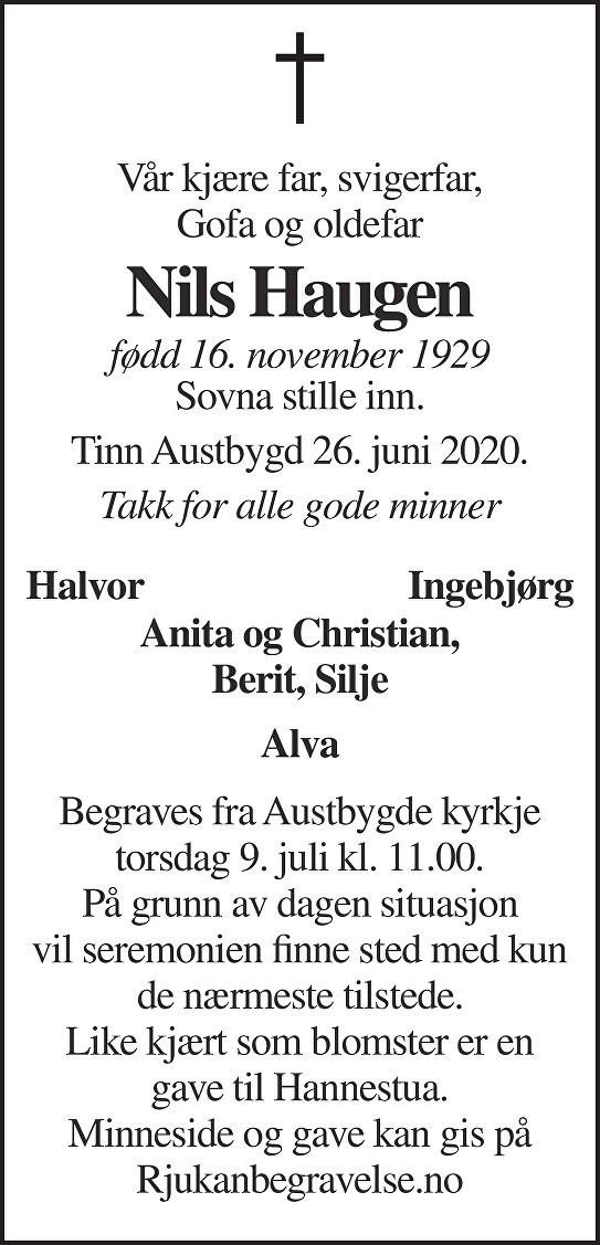 Nils H Haugen Dødsannonse