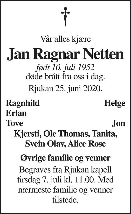 Jan Ragnar Netten Dødsannonse