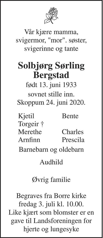 Solbjørg Sørling Bergstad Dødsannonse