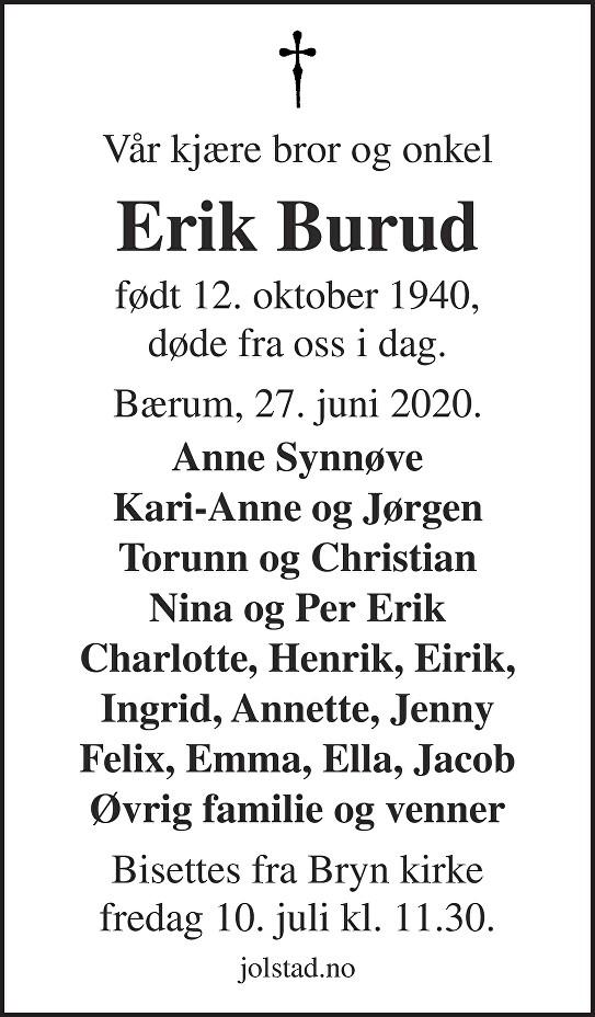 Erik Burud Dødsannonse