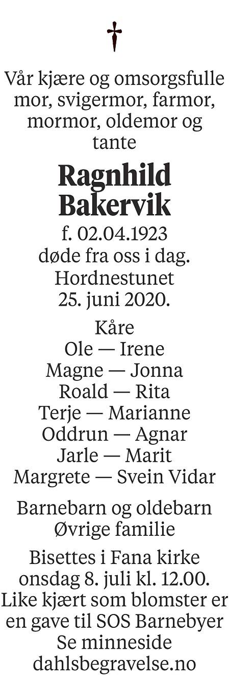 Ragnhild Bakervik Dødsannonse