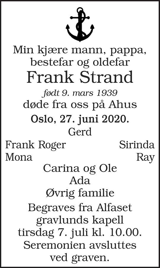 Frank Strand Dødsannonse