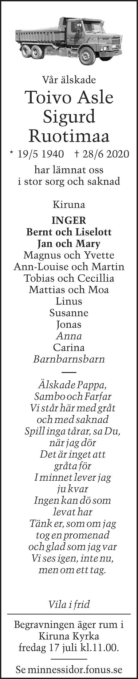 Toivo Asle Sigurd Ruotimaa Death notice