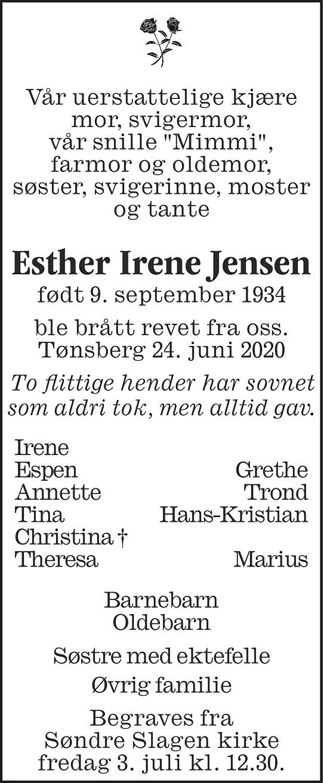 Esther Irene Jensen Dødsannonse