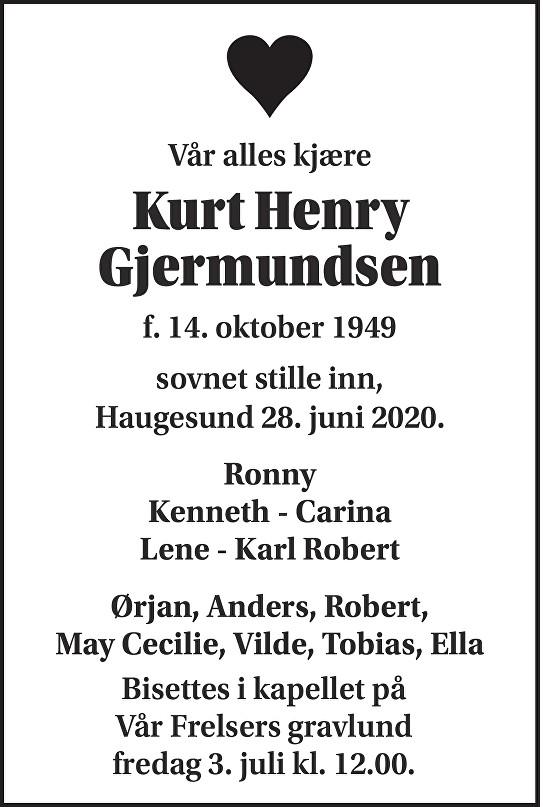 Kurt Henry Gjermundsen Dødsannonse