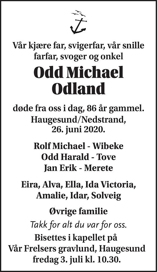 Odd Michael Odland Dødsannonse
