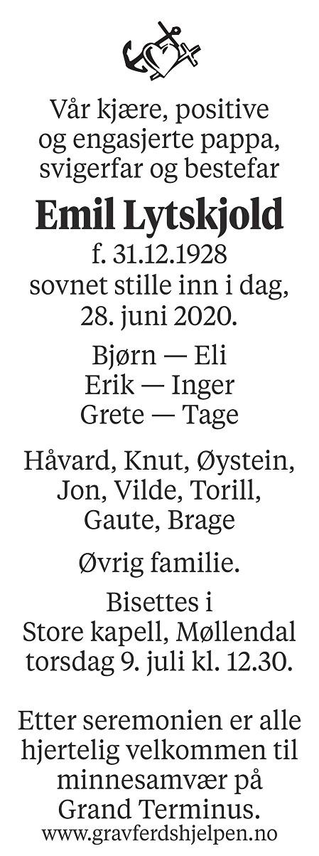 Emil Lytskjold Dødsannonse