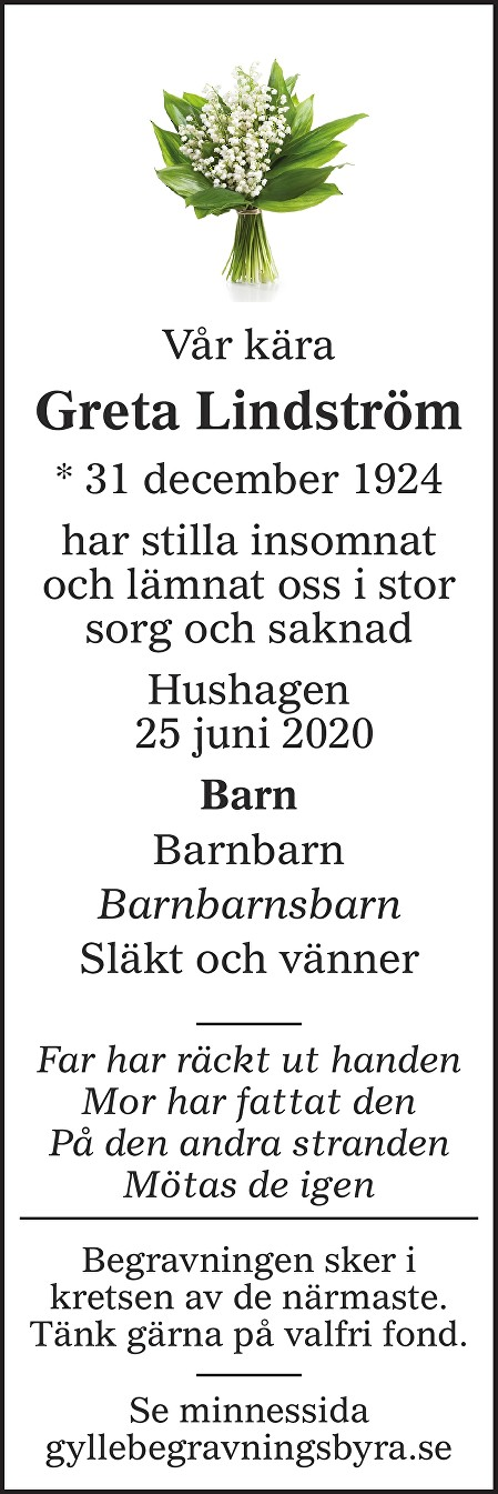 Greta Lindström Death notice