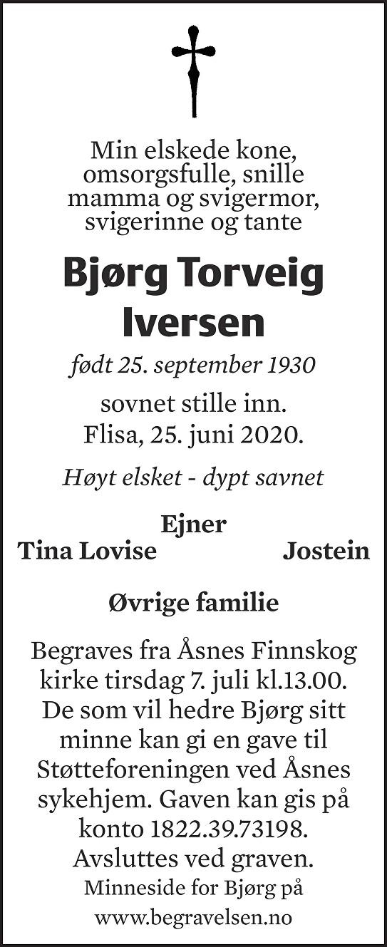 Bjørg Torveig Iversen Dødsannonse