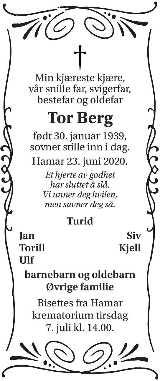 Tor Berg Dødsannonse