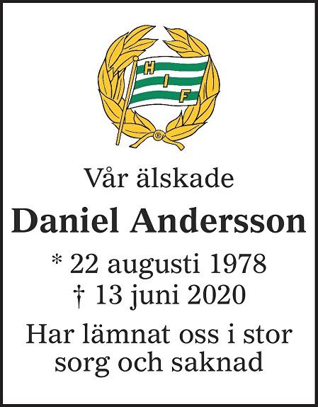 Daniel  Andersson Death notice