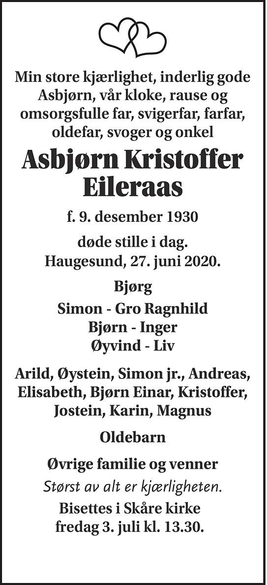 Asbjørn Kristoffer Eileraas Dødsannonse