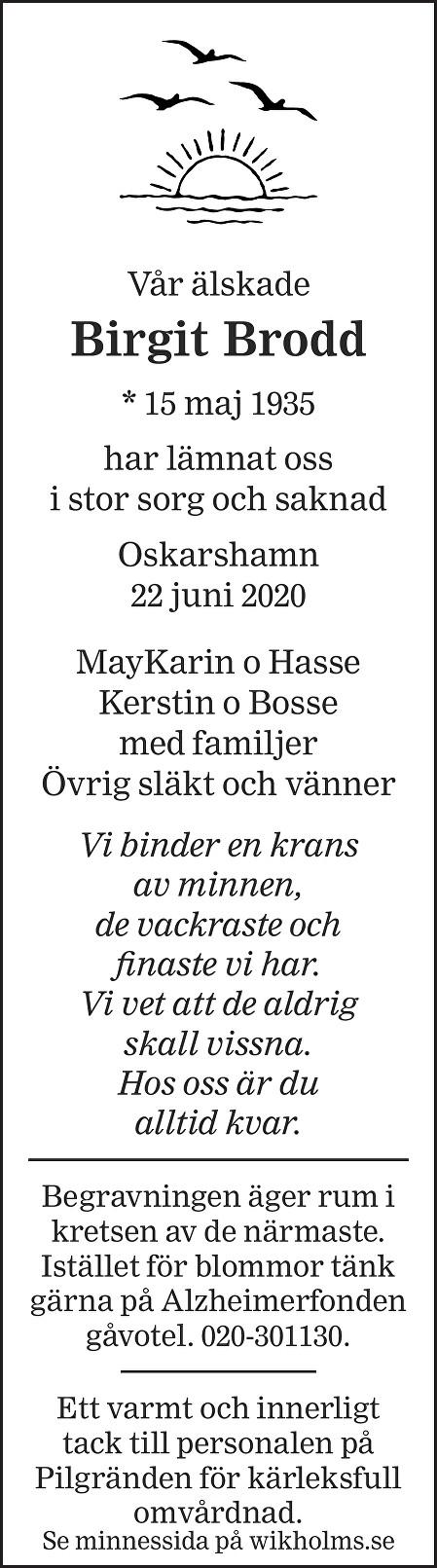 Birgit Brodd Death notice