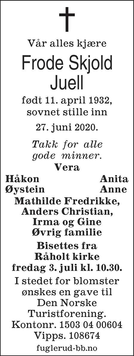 Frode Skjold Juell Dødsannonse