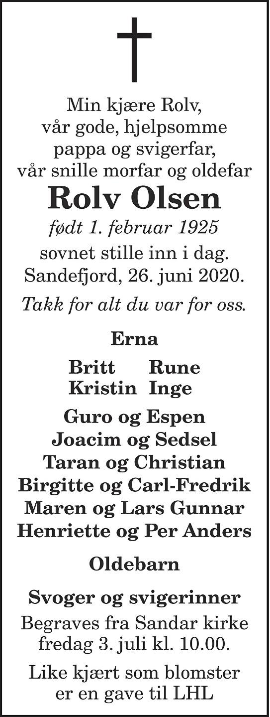 Rolv Olsen Dødsannonse