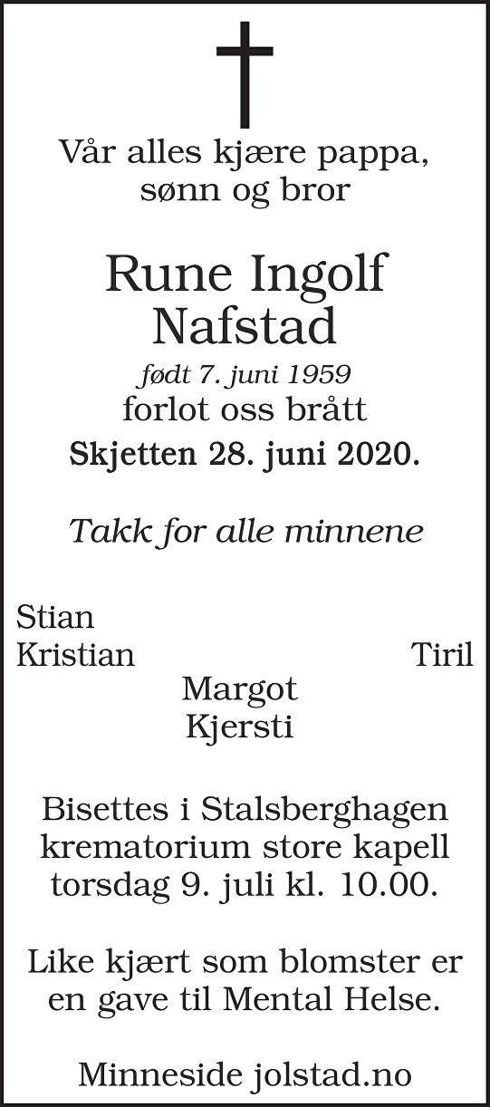 Rune Ingolf Nafstad Dødsannonse