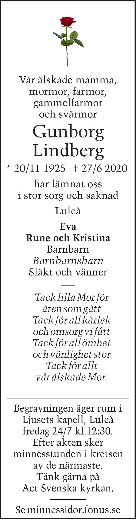 Gunborg Lindberg Death notice
