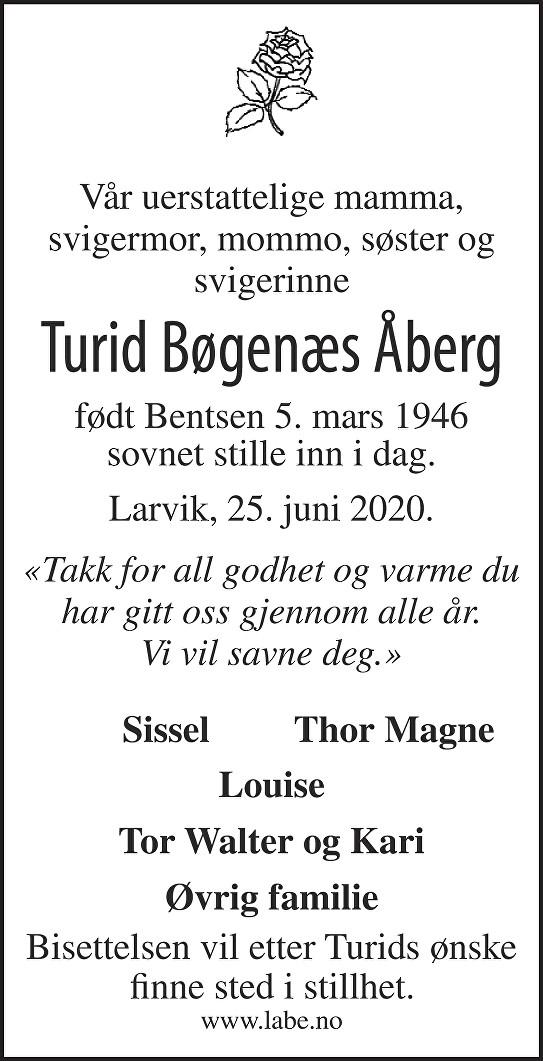 Turid Bøgenæs Åberg Dødsannonse