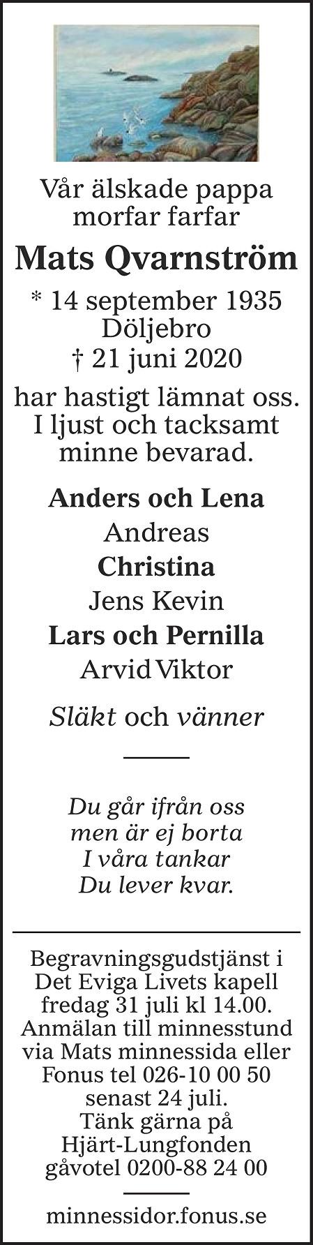Mats Qvarnström Death notice