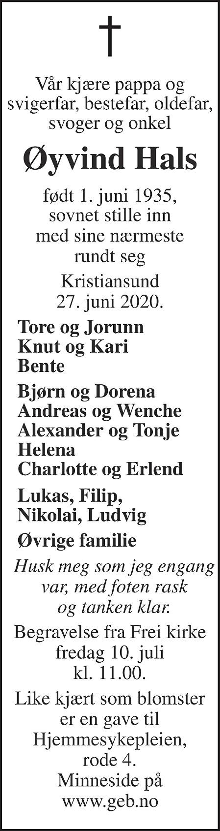 Øyvind Hals Dødsannonse
