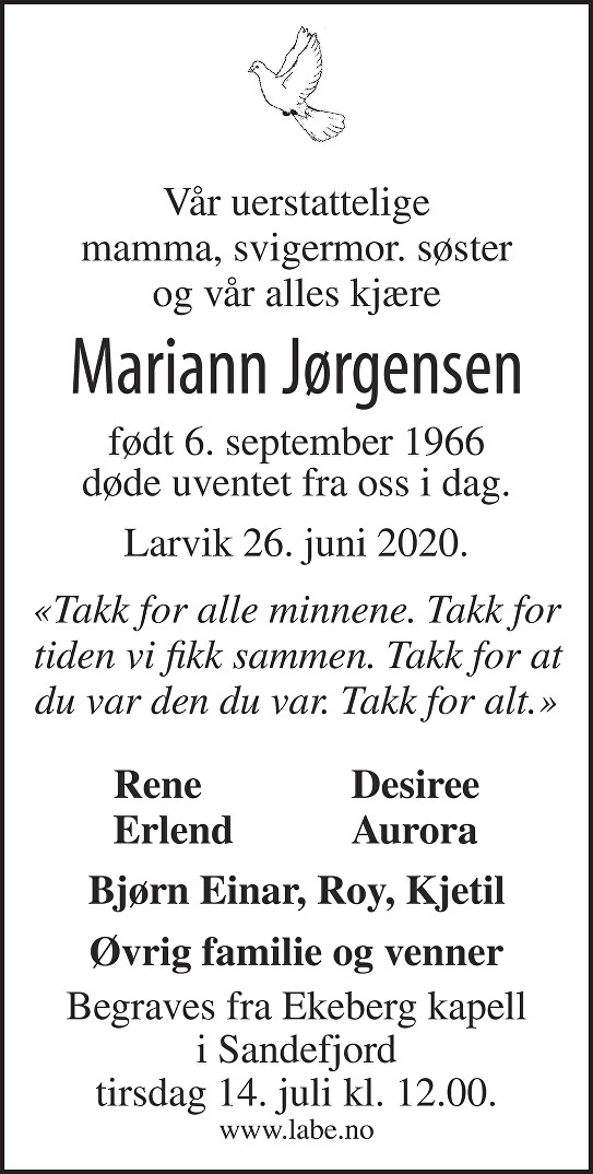 Mariann Jørgensen Dødsannonse