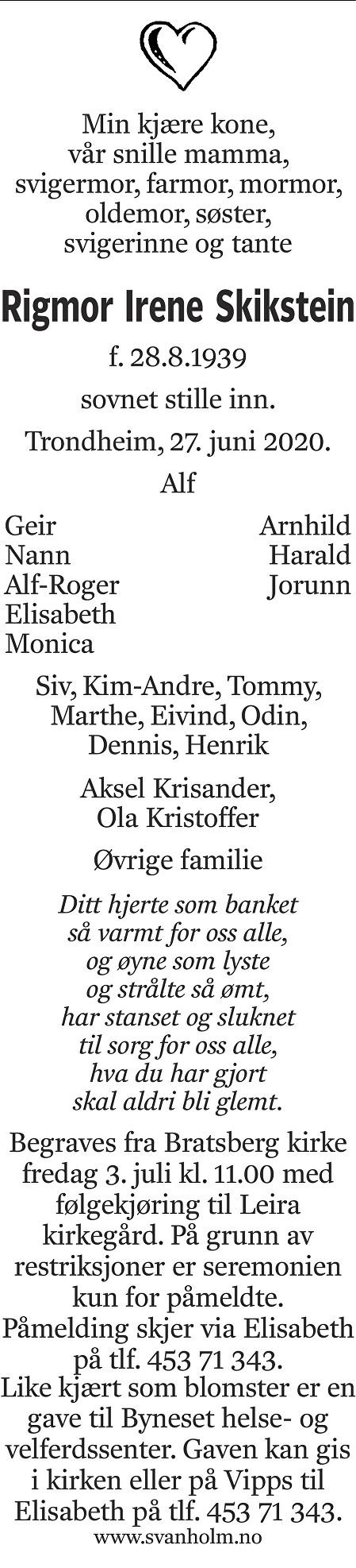 Rigmor Irene Skikstein Dødsannonse