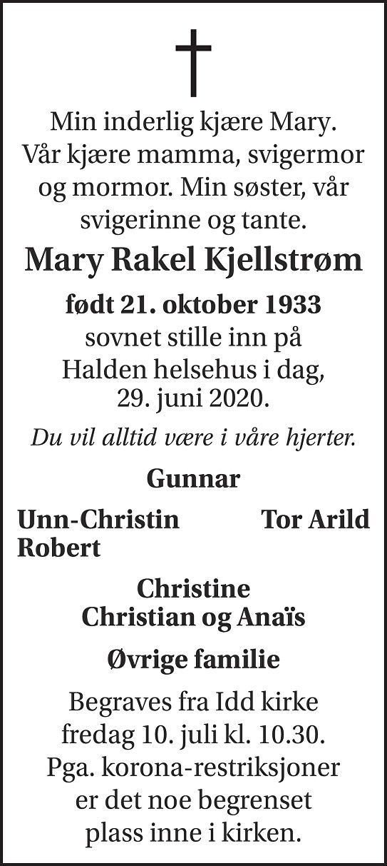 Mary Rakel Kjellstrøm Dødsannonse