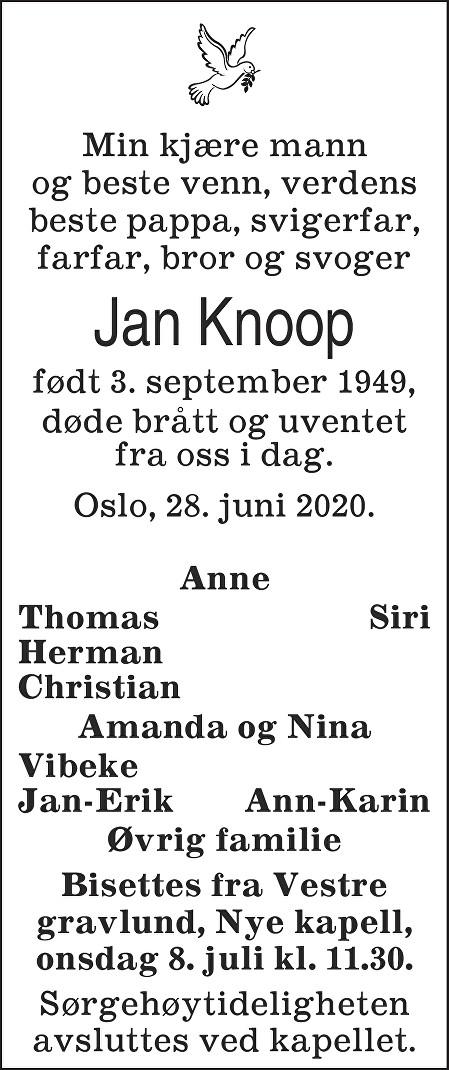 Jan Knoop Dødsannonse