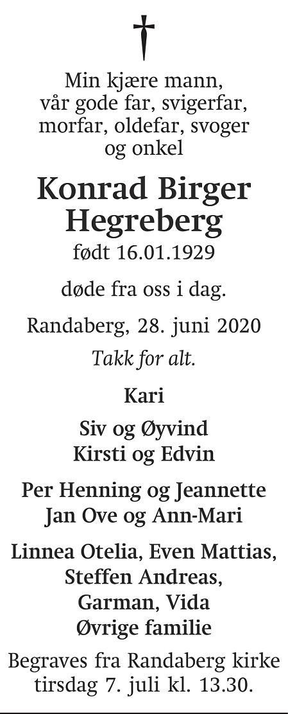 Konrad Birger Hegreberg Dødsannonse