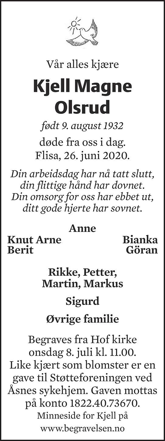 Kjell Magne Olsrud Dødsannonse