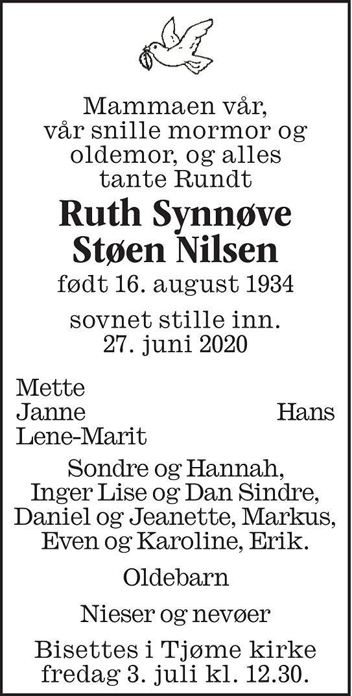 Ruth Synnøve  Støen Nilsen  Dødsannonse